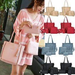 4PCS/Set Women Lady Leather Handbag Shoulder Bags Tote Purse