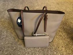 DELUXITY Amber Zippered Tote Shoulder Bag with Matching Clut