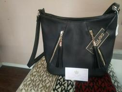 Black purse with two front zip tassels