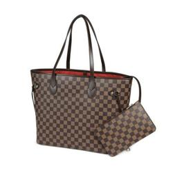Brown Checkered Tote Shoulder Bag with inner pouch - Luxury