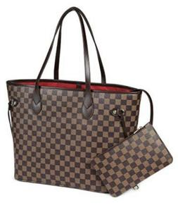 Daisy Rose Checkered Tote Shoulder Bag with inner pouch - PU