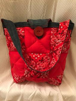 Homemade Patchwork Quilted Over the Shoulder Tote Bag. Red,