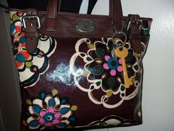 FOSSIL KEY PER COATED CANVAS LEATHER FLORAL TOTE SHOPPER LAR