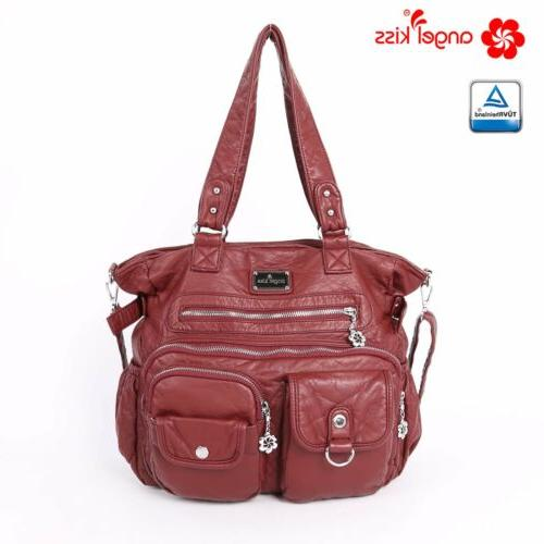 ANGELKISS Vintage Washed Leather Handbags Hobo Brand