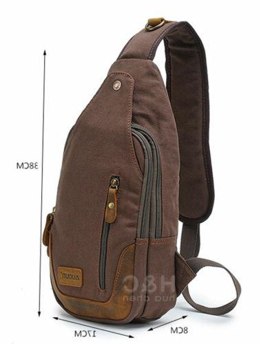 Canvas Military Hiking Travel Chest Pack Shoulder Sling Bags