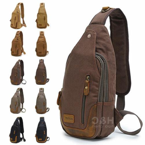 canvas military hiking messenger travel chest pack