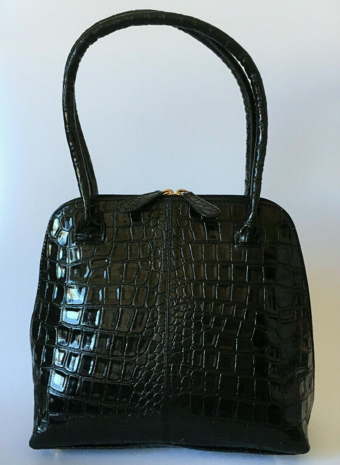 OSPREY LONDON Annie Shoulder Bag Leather Croc