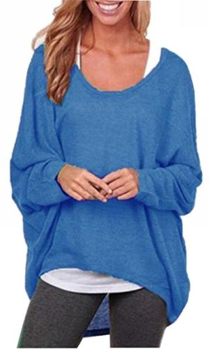 UGET Women's Sweater Casual Oversized Baggy Off-Shoulder Shi