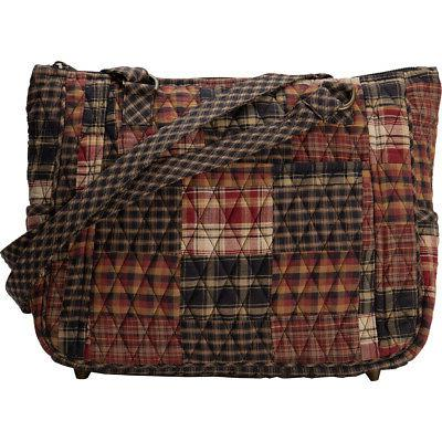 Women's Rustic Quilted Tote Bag Black Plaid Fabric Purse