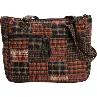 Women's Quilted Bag Red Plaid Fabric Purse