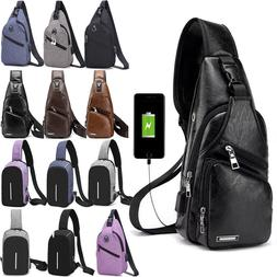 Men Anti-Theft Sling Chest Pack With USB Charging Hiking Cro