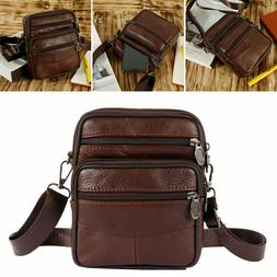 MEN SHOULDER  BAGS BOYS SMALL REAL Genuine LEATHER CROSS BOD
