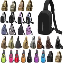 Men USB Sling Bag Chest Pack Cycle Travel Sports Backpack Sh
