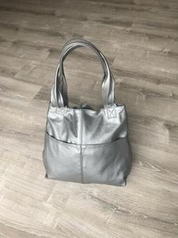 Silver Leather Bag With Pockets, Fashion Everyday Handbags,