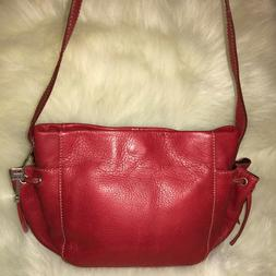 FOSSIL Small Red Leather Shoulder Bag Hobo with Drawstring P