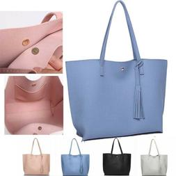 Tassel PU Leather Satchel Totes Shoulder Bag Women's Handbag