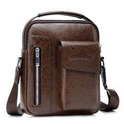 Vintage Men PU Leather Casual Messenger Bag Cross-body Tote