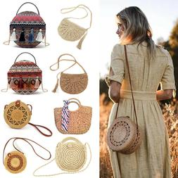 Women Hand Woven Round Rattan Straw Bag Bali Boho Shoulder B