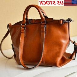 Women's Oiled Leather Handbag Shoulder Bag Lady Brown Tote P