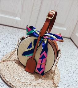 Women's Straw Bag Summer Beach Rattan Shoulder Bags Bamboo B