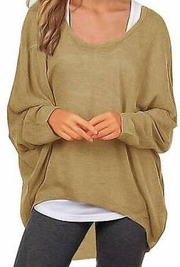 UGET Women's Sweater Casual Oversized Baggy Off-Shoulder, Ta
