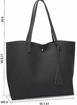 Womens Soft Faux Leather Tote Shoulder Bag Big Capacity Tass